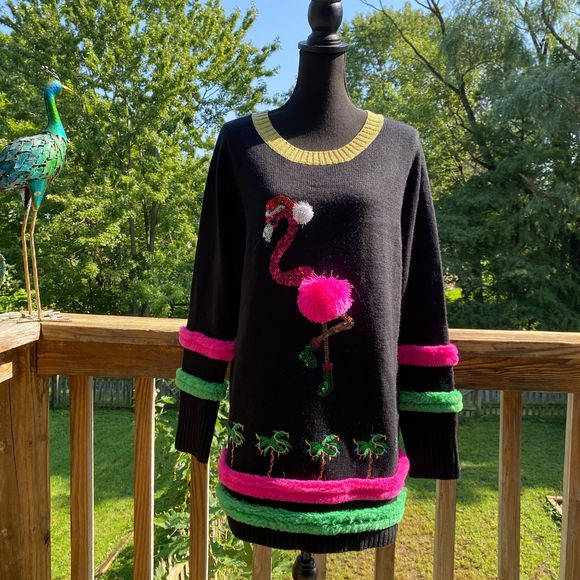 Holiday Time Black Flamingo Ugly Christmas Sweater
